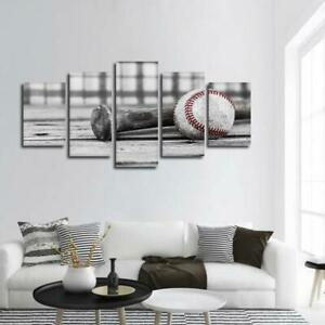Image Is Loading Old Baseball Bat Ball Wood 5 Panel Canvas