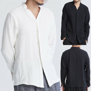 Mens-Casual-Shirt-Linen-Botton-Down-Long-Sleeve-Chinese-Style-Cotton-Tops-Shirts