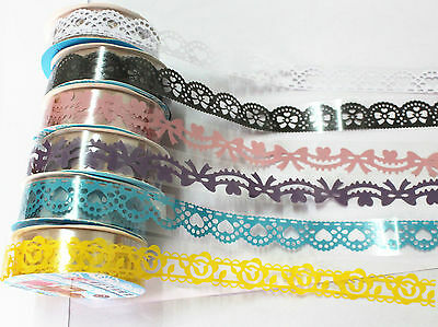 Kawaii Hollow Lace Tape Diary Decoration Stickers DIY Photo Album Accessory (C)