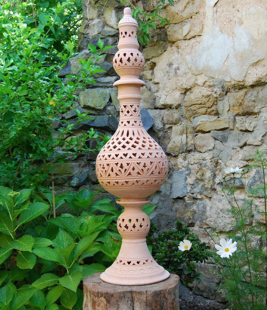 XL 100cm Windlicht Lampe Laterne Terracotta Terrakotta Garten Licht Kerzenhalter  | Starker Wert