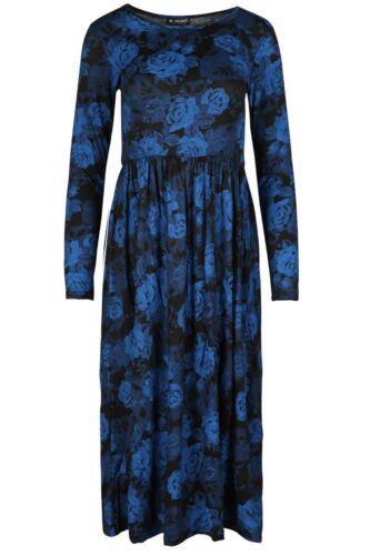 Ladies Womens Midi Dress Swing Long Sleeve Flared Skater Franki Dress Plus Size
