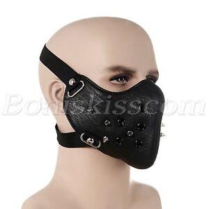 Punk-Black-PU-Leather-Rivet-Half-Face-Mask-Outdoors-Motorcycle-Biker-Protection