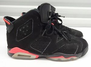 50d14c8d0c4 AIR JORDAN RETRO 6 VI BLACK SUEDE INFRARED BRED Boys Size 6Y youth ...