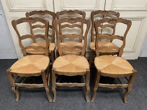 Set 6 French Country Farmhouse Ladder Back Dining Chairs Ebay