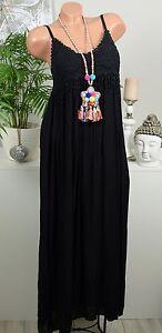 Hippie-uncinetto-vestito-frange-spalline-maxi-vintage-nero-IBIZA-36-38-40