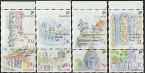 (150)SINGAPORE 1991 NATIONAL MONUMENTS SET OF 4 PAIRS (8V) MNH. CAT RM 40