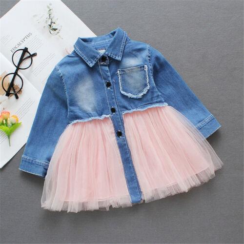 UK Toddler Baby Girls Tulle Dress Long Sleeve Casual Tutu Dresses Kids Clothes