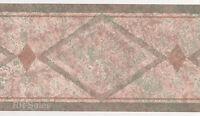 Aztec Southwest Native Adobe Tan Green Diamond Speckled Wall Wallpaper Border