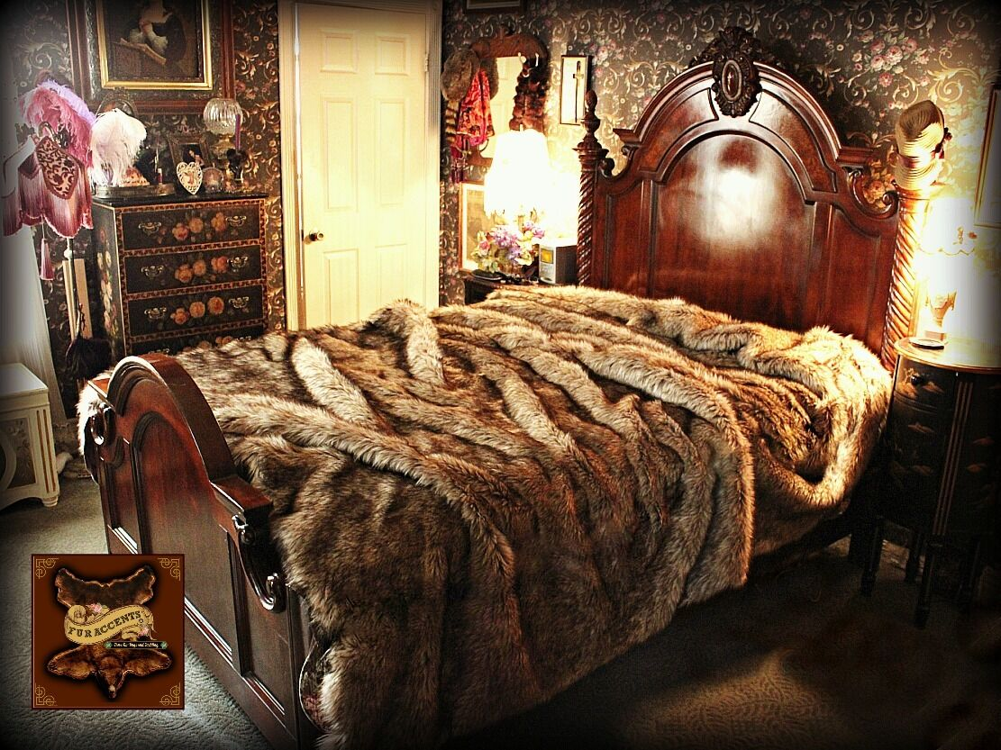 FUR ACCENTS Faux  Wolf   Coyote Bedspread   King Size