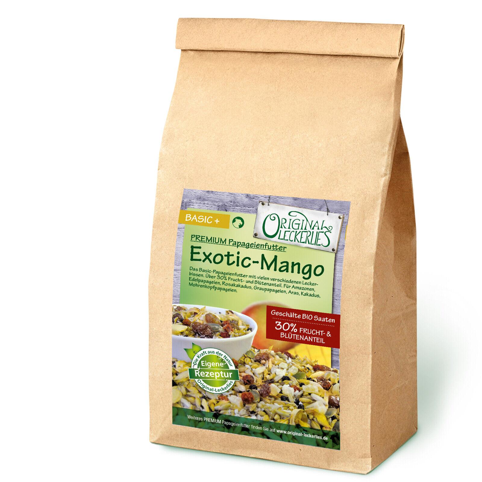 5kg Exotic-Mango-Mix, Papageienfutter, 30% Frucht & Blüten, geschälte Saaten