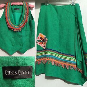 Vintage-Chris-Clyne-2-Pc-Outfit-Colorful-Skirt-amp-Vest-Top-Linen-W-Ricrac-80s
