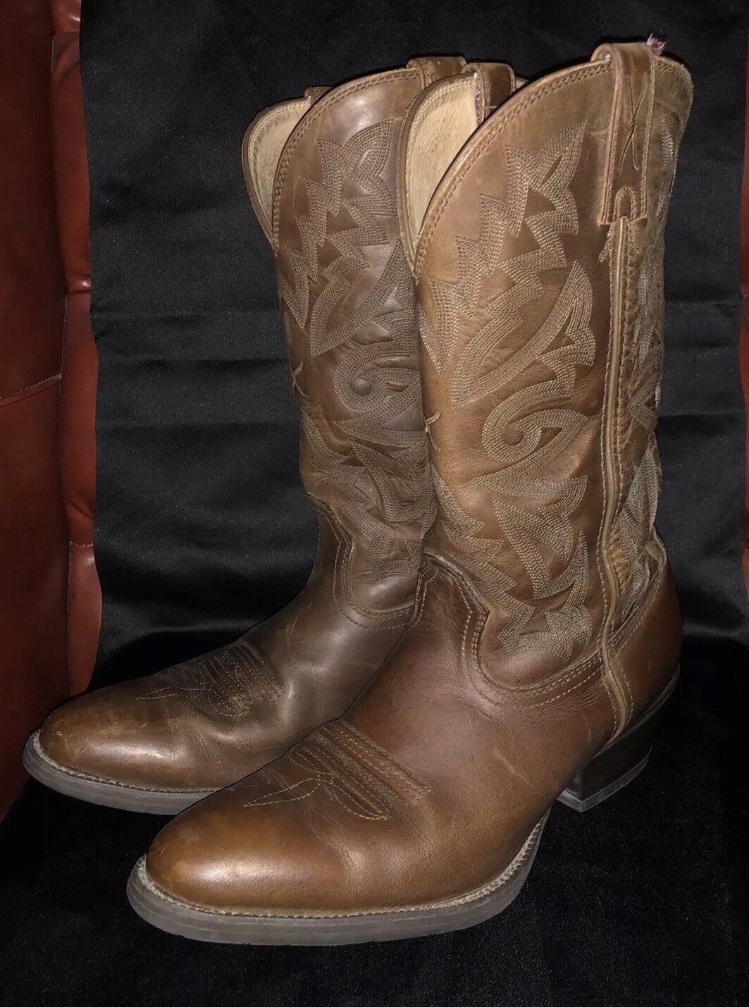 Mens Twisted X Western Distressed Saddle Leather Boots (11D)   MWT0004   EUC