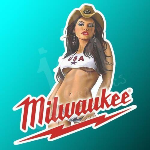 Milawaukee Pinup Girl Vinyl Decal Sticker Tool Box Wrench Man Cave Garage Car