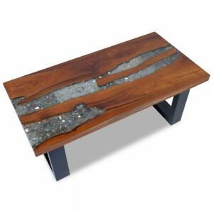 Details About VidaXL Solid Teak Wood Coffee Table Side Resin Handmade Paint  Finish End Couch✓
