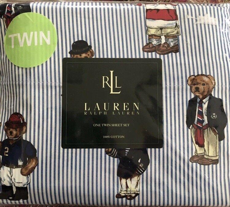 NEW NIP RALPH LAUREN POLO Teddy bear 3pc Twin Sheet Set Flat Fitted Pillowcase