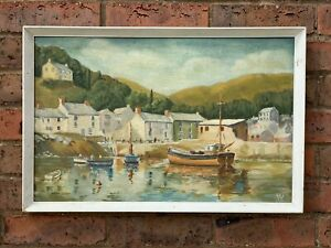STUNNING-Cornish-South-Coast-Or-Devon-Original-Oil-Painting-Signed-Framed-Boats
