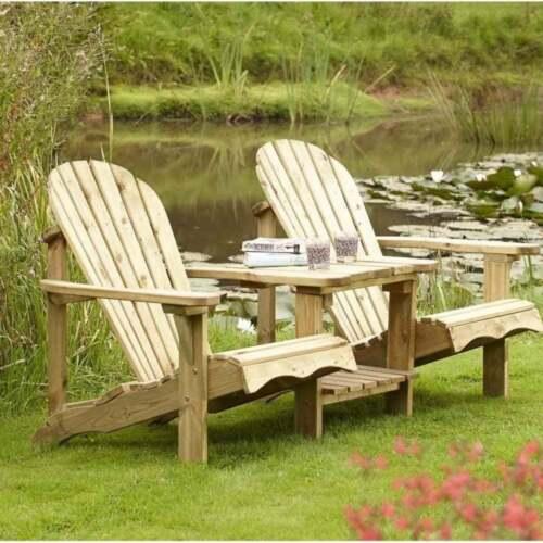 Rowlinson Garden Products SWADIRO2 softwood adirondack companion seat