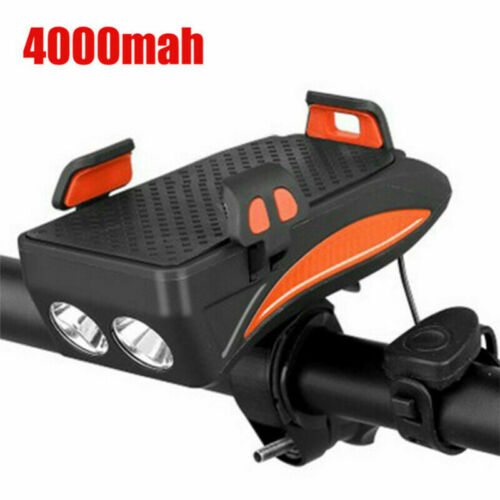 4in1 USB Rechargeable LED Bicycle Headlight Bike Horn Phone Holder Cycling NEW