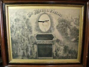 Antique-1879-Framed-Death-Memorial-Certificate-child-hair-lock-locket-authentic