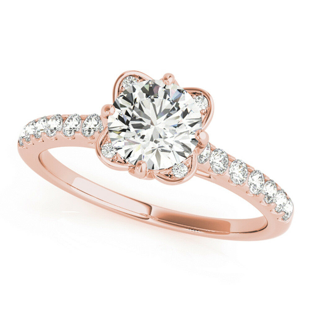0.70 Ct Round Cut Diamond Engagement Ring 14K Solid pink gold VS1 H-I Size 5 6 7