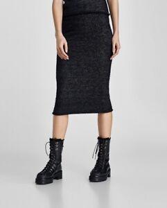 2efb925564 NEW ZARA SHIMMERY MIDI SKIRT, Size M, Knit Pencil Skirt, Black ...