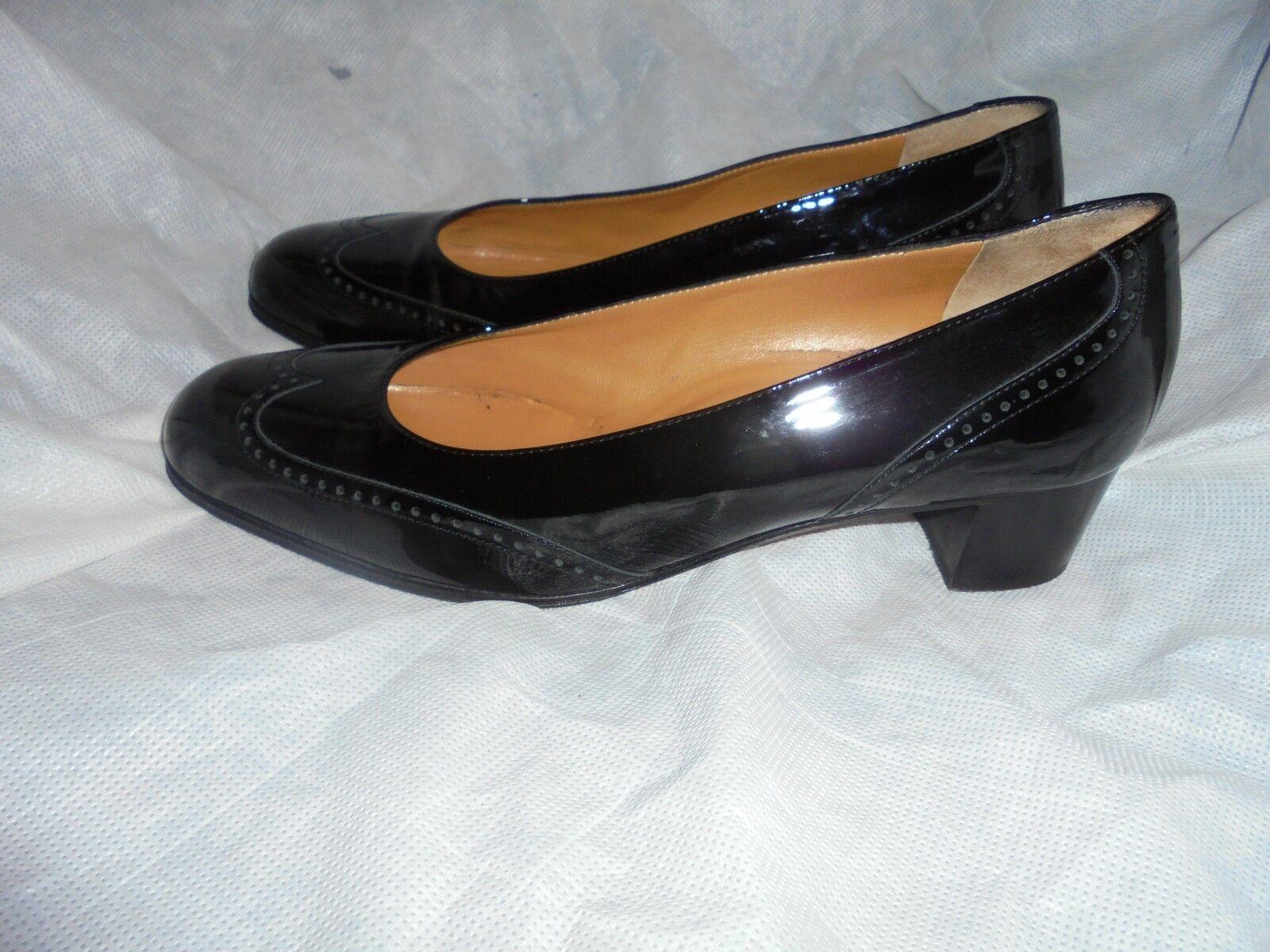 DENKSTEIN WOMEN BLACK LEATHER SLIP ON BROGUES Schuhe SIZE UK 6 EU 39 VGC