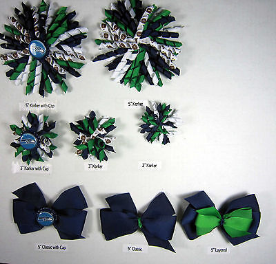 Seattle Seahawks Themed Hair Bows Korkers Classic Bottle Caps U-Pick
