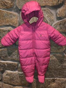 8765ea10b Baby Gap Snowsuit Baby Bunting Girls 6-12months Pink Fleece Hooded ...