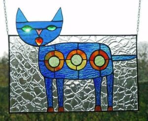 Bleiverglasung-expressionistisches-Fensterbild-034-Klee-Katze-034-in-Tiffany