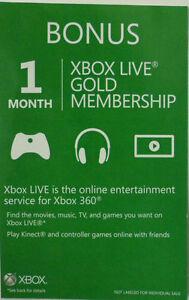 Xbox Live Gold Membership 1 Month Xbox 360 | eBay