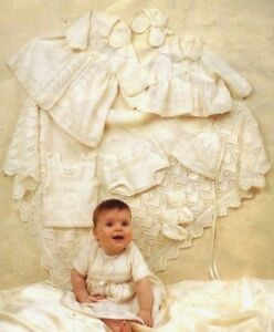 Complete-Baby-Layette-Lovely-Shawl-0-6-mths-4-Ply-Vintage-Knitting-Pattern