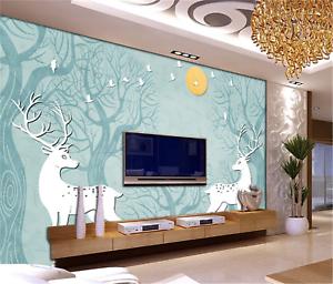3D Mond Elch Muster 8065 Tapete Wandgemälde Tapeten Bild Familie DE Summer