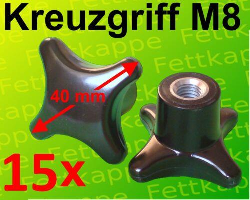 Kreuzmutter Feststellmutter Kreuzgriff 15 x Kreuzgriffmutter M8 Griff Ø 40 mm