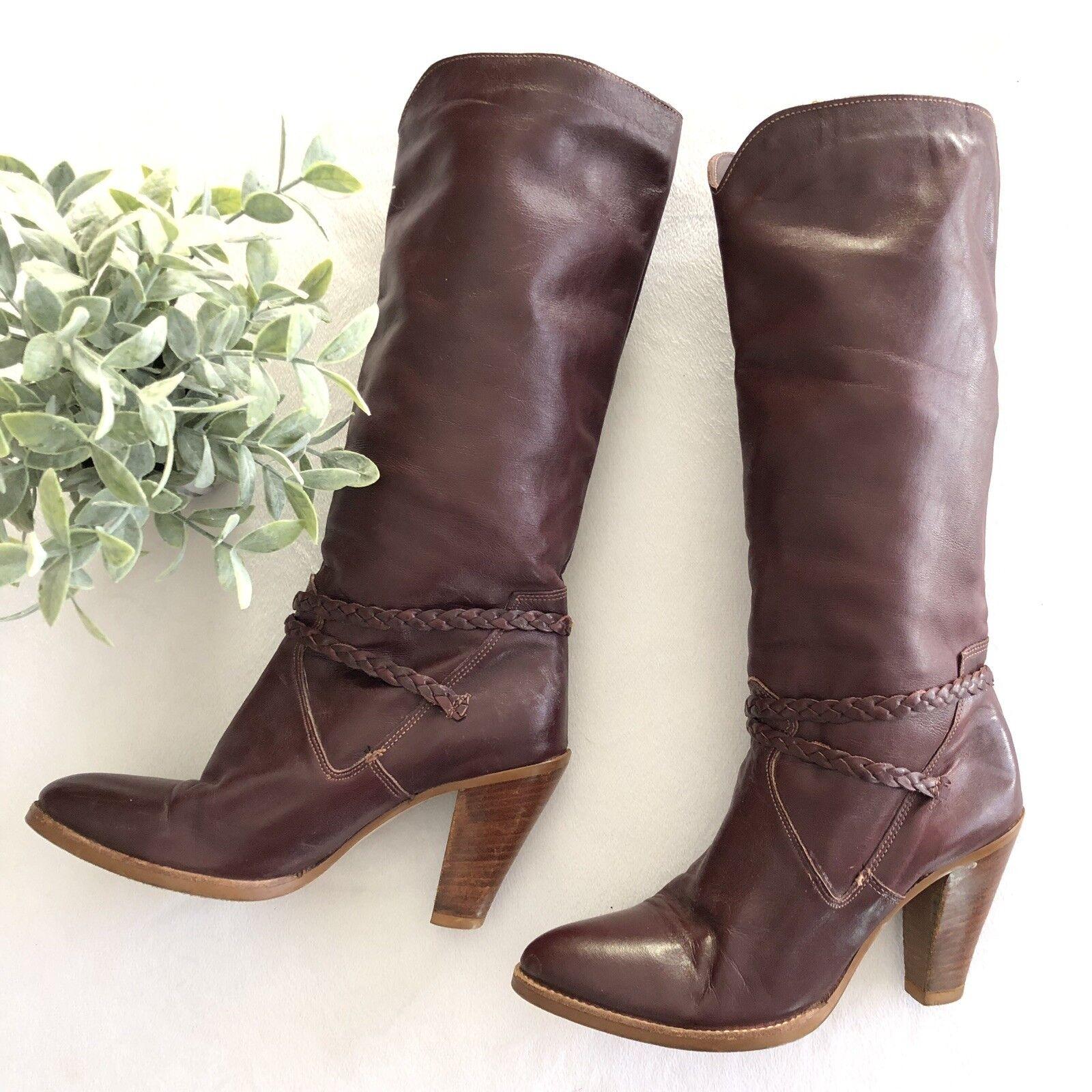Dingo Trenzado Correa De Tobillo botas botas botas Hasta La Rodilla occidental de Cuero Borgoña para Mujer Talla 6  ventas en linea