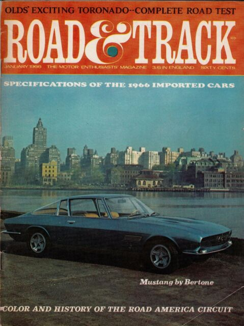 JANUARY 1966 ROAD & TRACK MAGAZINE MUSTANG BY BERTONE ON COVER