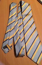 SAMUEL WINDSOR Mens Seven Fold Blue Yellow Striped 100% Silk Tie Neck Tie