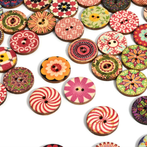 50Pcs 2 Holes Apparel Sewing Mixed Color Flower Picture Wood Button DIY FT