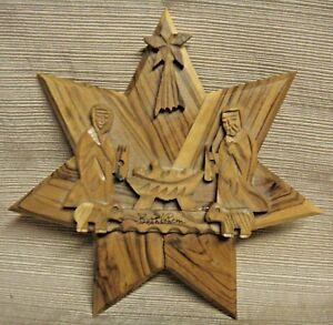Vintage-Hand-Carved-OLIVE-WOOD-NATIVITY-SCENE-Plaque-from-BETHLEHEM