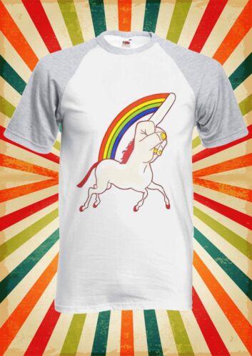 Unicorn Middle Finger Funny Men Women Long Short Sleeve Baseball T Shirt 1224