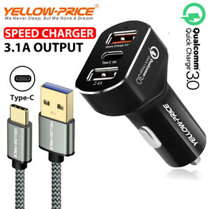 USB-Fast-Quick-CAR-Charger-Adapter-12V-8-4A-USB-C-Cable-for-Samsung-S10