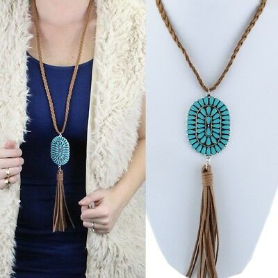 Western Cowgirl Faux Turquoise Concho Pendant 32 Braided Cord Tassel Necklace