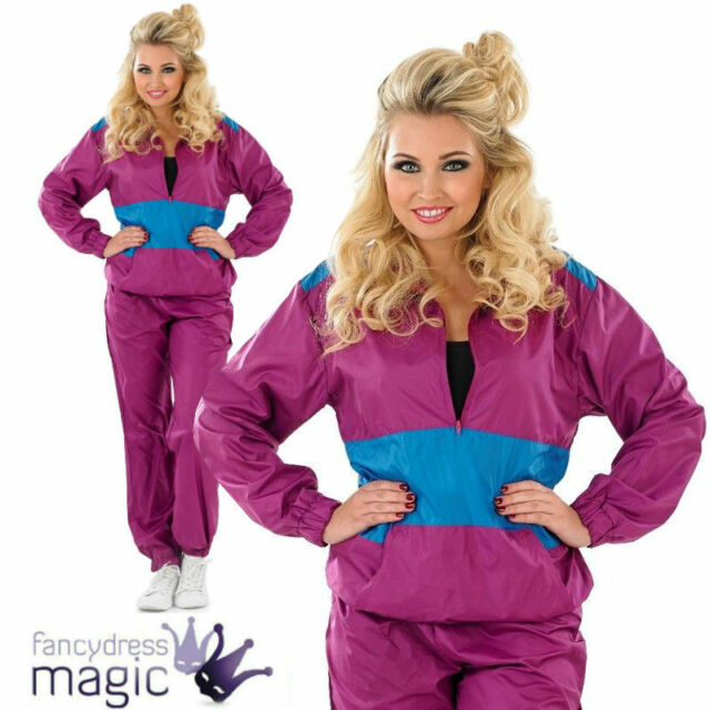 Ladies Shell Suit Fancy Dress Costume 80s Chav Retro Outfit Womens M