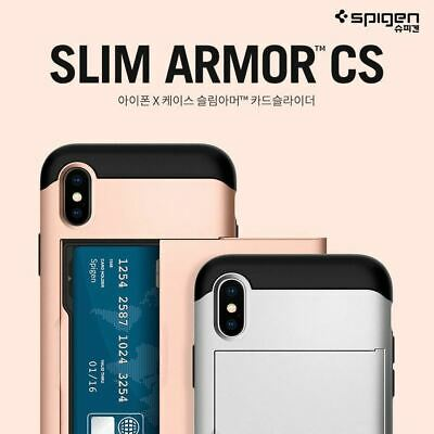 lowest price 4b0e3 209c2 Spigen Slim Armor CS Card Pocket Holder Wallet Cover For iPhone X XS XS Max  Case | eBay