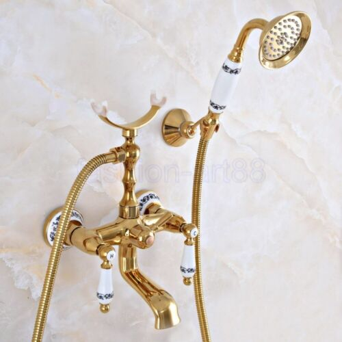Gold Color Brass Bathroom Claw foot Tub Faucet Filler With Hand Shower fna906