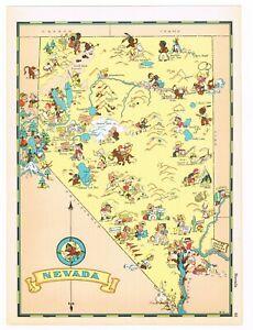 Details about ORIGINAL RUTH TAYLOR VINTAGE NEVADA MAP CARTOON RARE  PICTORIAL 1935 LAS VEGAS