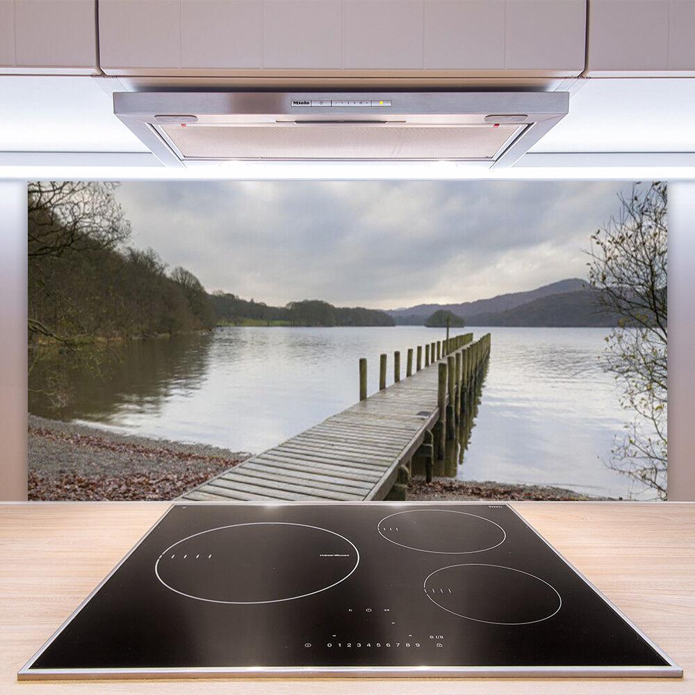 Crédence de cuisine en verre Panneau Paroi Paroi Panneau 100x50 Architecture Pont Lac Forêt 0dbad4