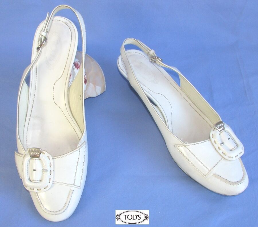 TOD'S Sandals Small Heels Bride ____ Brand White Leather 37 Itl - Very Good