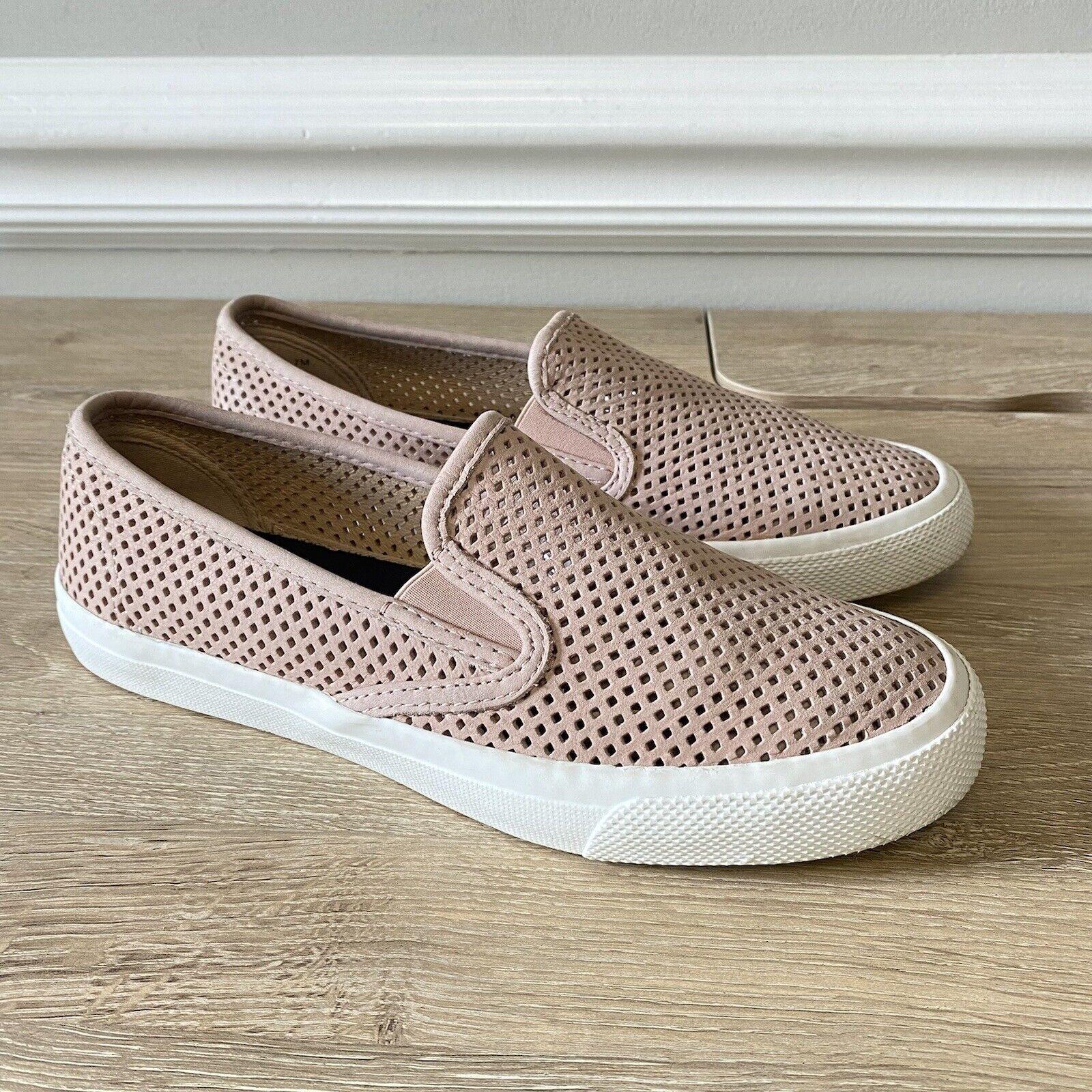 Sperry Women's Seaside Perf Nude/Rose Leather Slip-on Sneaker Size 7 M