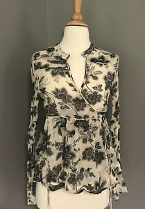 Malene Birger Silk Black Ivory Floral Print Wrap Marcellian Blouse Top Sz S 36