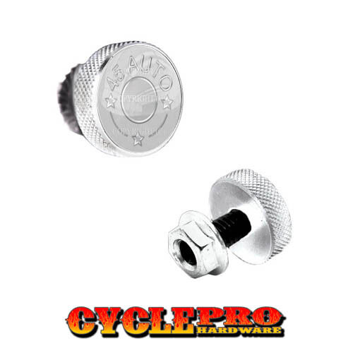 2 Silver Billet Knurled License Plate Frame Tag Bolts SILVER 45 AUTO 072